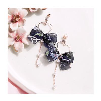러블리 쉬폰 하트 드롭 귀걸이 - 아르뉴, 10,500원, 골드, 드롭귀걸이