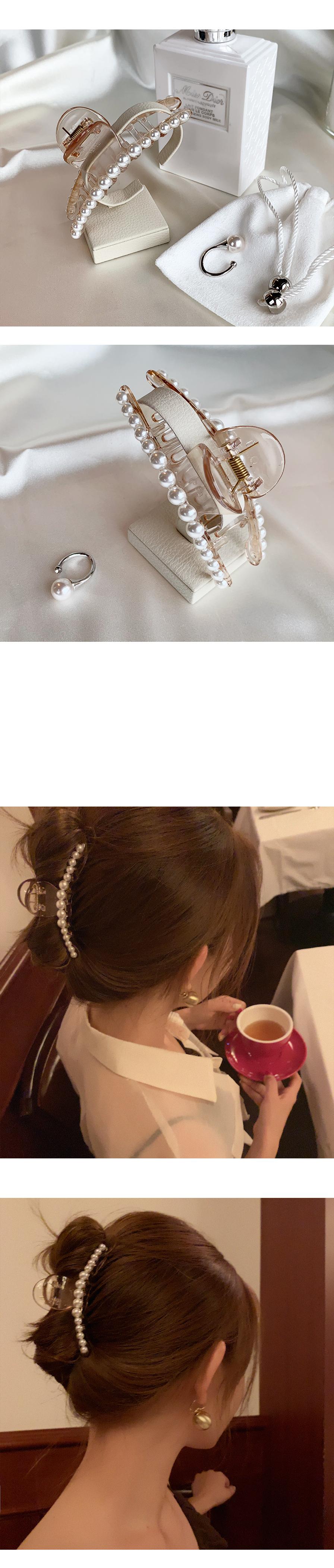 진주 라인 올림머리 집게핀 - 아르뉴, 10,000원, 헤어핀/밴드/끈, 헤어핀/끈