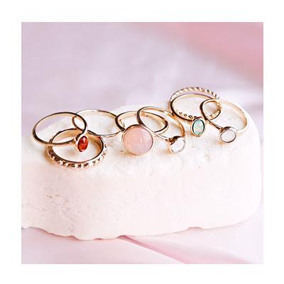 엔틱 컬러 포인트 링 반지 세트 - 아르뉴, 12,000원, 패션, 패션반지
